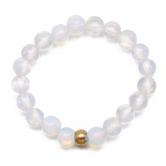 Handmade natural stone small round beads beaded ring (Size: 1.7cm adjustable) opal