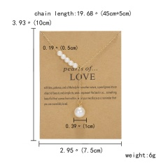 Letter Symbol Tassel Adjustable Yellow Card Paper Card Necklace (chain length: 45+5cm, cardboard: 10*7.5cm) Pearls of LOVE