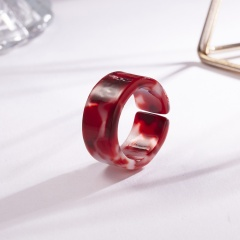 Color blooming open resin ring W